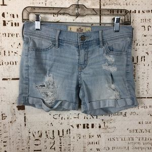 Hollister Distressed Denim Midi Shorts